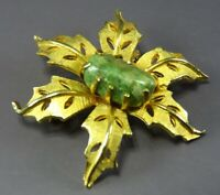Vintage GOLD TONE BROOCH PIN Flower Leaf Shape GREEN JADITE ROCK Prong Set
