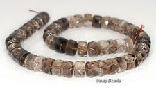 """13X7MM  SMOKY QUARTZ GEMSTONE FACETED RONDELLE LOOSE BEADS 7.5"""""""