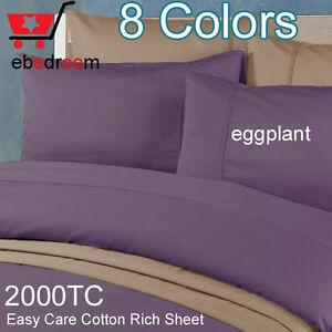 2000TC King Bed Fitted Flat &Pillowcases Purple/Grape Sheet Set-RRP $607