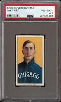 Rare 1909-11 T206 Jake Atz Sovereign 350 Chicago PSA 4.5 VG - EX +