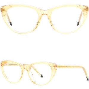 Women's Acetate Plastic Frame Cute Cat Eye Glasses Eyeglasses Translucent Yellow