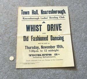 Vintage Poster A Whist Drive & Dancing Ladies' Bowling Club Knaresborough #A1
