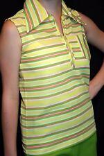 S Vtg 60s Sleeveless Zip Shirt Yellow Pink Avocado Green Stripe Knit  Top Blouse