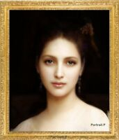 Old Master Art Portrait Beautiful Woman Lady Oil Painting Unframed 24x30 in