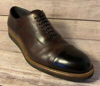 Hugo Boss Leather Oxford Men's Cap Toe Dress Shoe Brown Made in Italy Size 11