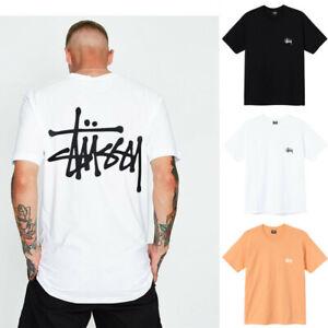 Stussy Unisex T-shirts Kurzärmeliges T-shirt Tops Printed LOGO Round Neck Tees