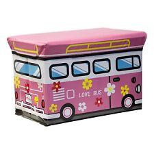 Kids Love Bus School Bus Train Toy Storage Ottoman Play Chest Bedroom Seat Stool
