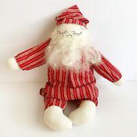"Santa Clause Old Saint Nick 13"" doll plush handmade wool beard hair Christmas"