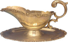 Camusso Sterling Silver Gravy Boat & Underplate with Scrolly Border (#0323)