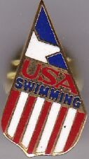 USA Swimming Team--Patriotic Flag Enamel Goldtone Lapel Pin--FREE SHIPPING