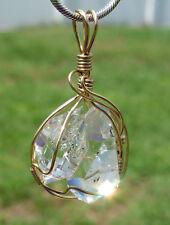 Clear Quartz TWIN Herkimer Diamond MANIFESTATION Crystal PENDANT Manifestor 14K