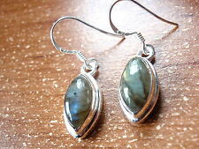 Labradorite Marquise Cabochon 925 Sterling Silver Dangle Drop Earrings New
