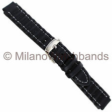 14mm MIlano Ribbed Rubber Black With Grey Stitching Watch Band