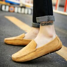 Mens Suede Leather Slip On Spring Loafers Casual Round Toe Moccasins Gommino New