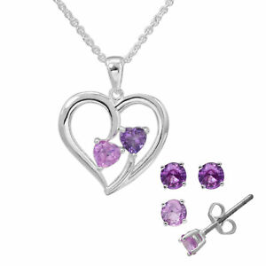 Silver Plated Heart Necklace and Earrings Set Genuine Amethyst, Created Sapphire