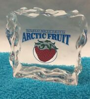 RARE Acrylic Paperweight ARCTIC FRUIT COMPANY Promotional Item, Advertisement