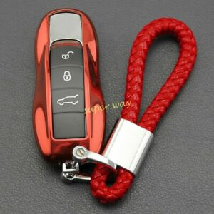 For Porsche Cayenne Macan Panamera Key Fob Chain Case Cover Ring Accessories Red