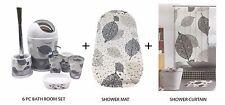 6Pcs Bathroom Accessory Set + Shower Curtain + Anti Non Slip Bath/Shower Mat UK