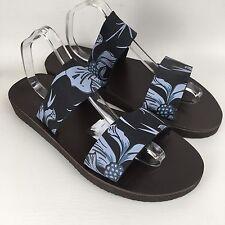 Men's Black Leather Blue Floral Pattern Sandals By Tabarca Size UK 11 EU 45 NEW