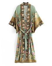 Ladies Boho Floral Green Kimono 100% Rayon Bat Sleeves Size 8-10