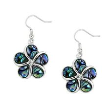 Flower Fashionable Earrings - Fish Hook - Abalone Paua Shell - Sparkling Crystal