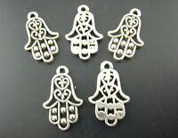 FREE P&P Wholesale Silver Tone Hamsa Fatima Hand Charm Pendants 13x22mm