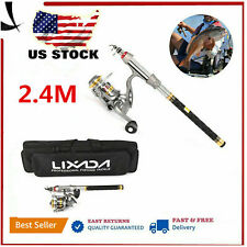2.4M Saltwater Freshwater Telescopic Fishing Rod With Reel Combos Pole Sets T3P3