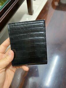 Black  double side Genuine Crocodile bally Leather Skin Men's Bifold Wallet