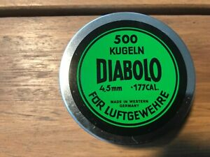 Diabolo Kugeln pellets in .177 cal 500 count tin NOS made in Germany
