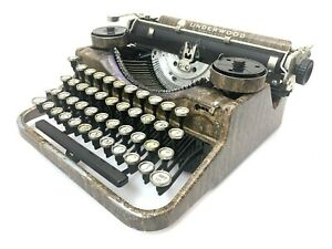 "1928 ""Woody"" UNDERWOOD PORTABLE TYPEWRITER Vtg Antique Faux Bois B Model"