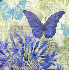 3 x Single Paper Tissues Decoupage Napkins Blue Butterfly WIth Blue Flower N646