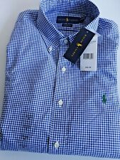 Polo Ralph Lauren SHIRT Dress CLASSIC FIT M SLEEVE BLUE Plaid Gingham -BNWT