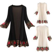 Womens Lace Floral Kaftan Beach Wrap Dress Long Kimono Cardigan Top Loose Blouse
