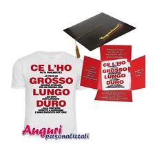 """T-shirt laurea nel cappello """"Grosso lungo duro"""" regalo divertente ed originale f"""