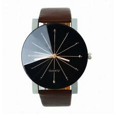 Mens Watch Stainless Steel Leather Sports Watch Quartz Analog Wrist Watch J2R5