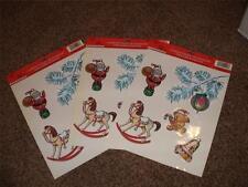 3-Vintage Hallmark Christmas Window Cling Decoration 1995 Lot Mint Santa Horse