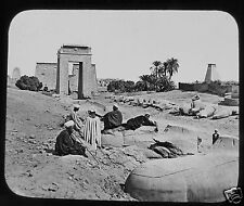 Glass Magic Lantern Slide SPHINXES TEMPLE OF KARNAK THEBES C1890 EGYPTIANS