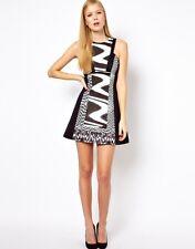KAREN MILLEN BLACK & WHITE ZEBRA PRINT PANEL MINI DRESS SIZE 10.