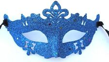 Men Ladies Blue Glitter Venetian Masquerade Party Prom Carnival Eye Mask