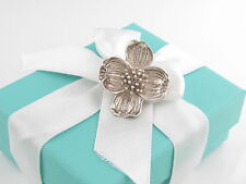 Tiffany & Co Silver Nature Dogwood Flower Brooch Pin Pouch Included