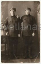 1930 Soviet Red Army Handsome men Military uniform Painted backdrop Studio photo