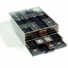5 Lighthouse Coin Box Stackable Display Drawers for 20 2x2 Square Quadrum Holder