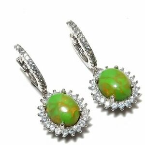"""Green Copper Turquoise, Cubic Zirconia 925 Sterling Silver Earring 1.18"""" T8697"""