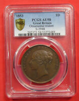 1853 1D Great Britain PCGS AU58. Large penny. Ornamental Trident. (520054)