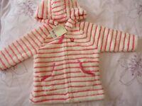 next baby girl soft fluffy hooded coat jacket warm 9-12m NWT