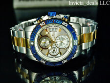 NEW Invicta Mens 45mm PILOT Specialty Chrono Silver Dial 18K Gold 2Tone SS Watch