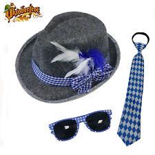 Oktoberfest Costume Accessory Kit German Lederhosen Hat Tie Glasses Bavarian Man