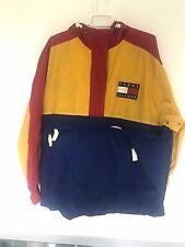 Vintage Mens TOMMY HILFIGER Windbreaker Hooded Jacket Yellow Packable Patch Bag