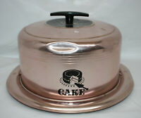"""Vintage Aluminum Pink Copper West Bend Covered Cake Pan 14"""" 1950s ~ w/ Free Gift"""