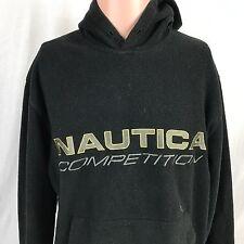 Vintage 90s Nautica Competition Fleece Hoodie Sweatshirt S Black Nautech Mens